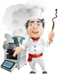 Chubby Chef Cartoon Vector Character AKA Rosmarinio Fluffy - Messy Kitchen