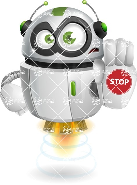 robot vector cartoon character - Stop