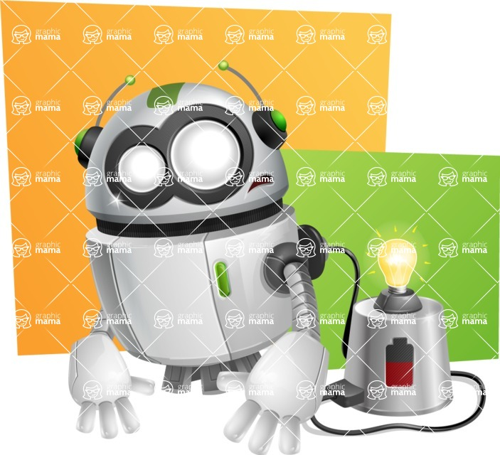 robot vector cartoon character design - Shape10
