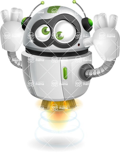robot vector cartoon character - Confused