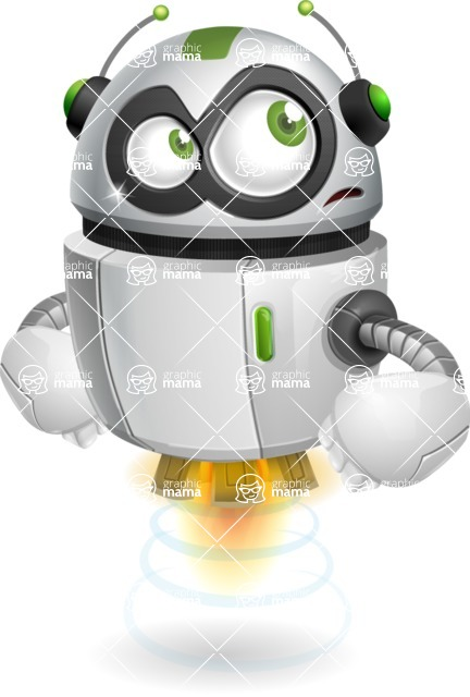 robot vector cartoon character - Roll Eyes