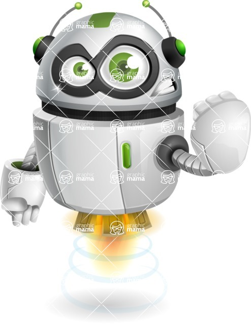 robot vector cartoon character - Angry