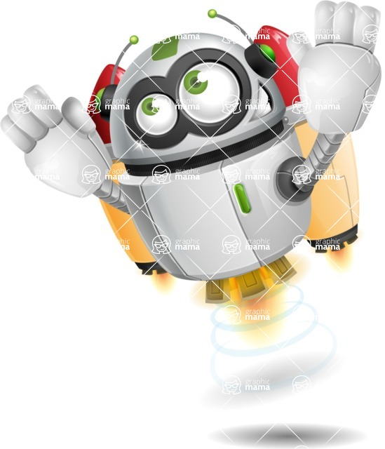robot vector cartoon character design - Flying