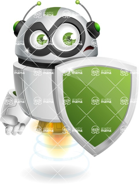 robot vector cartoon character - Security 1