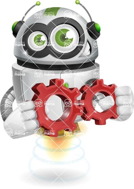 robot vector cartoon character - Gears