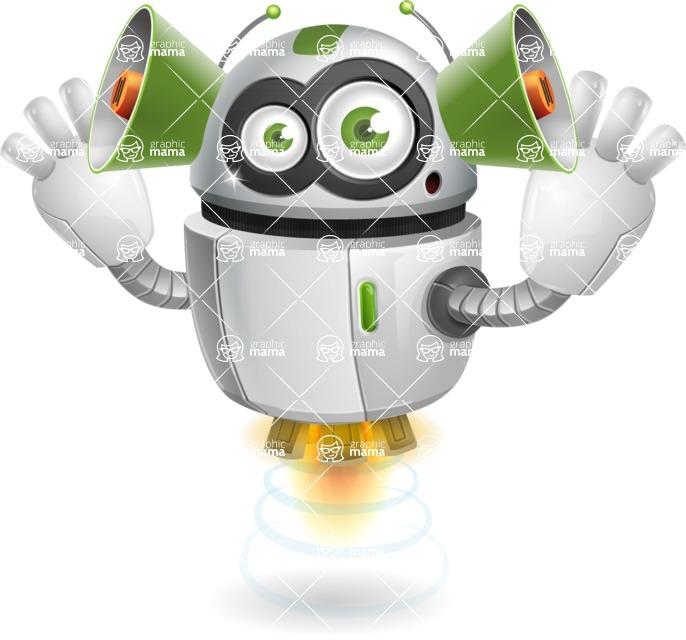 robot vector cartoon character - Listen