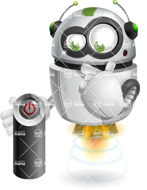 robot vector cartoon character - Power Button