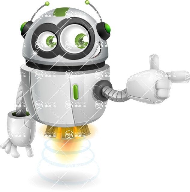 robot vector cartoon character - Point