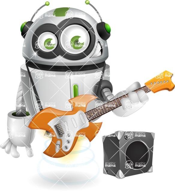 robot vector cartoon character - Musician