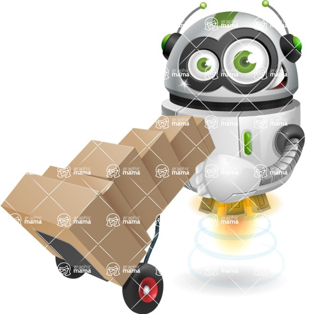 robot vector cartoon character - Delivery 2