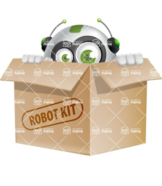 robot vector cartoon character - Box