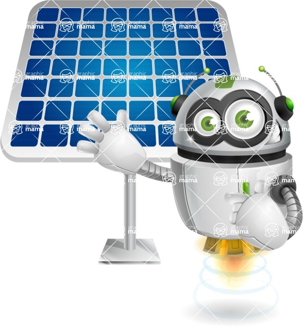 robot vector cartoon character - Solar Panel