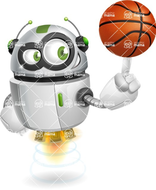 robot vector cartoon character - Basketball