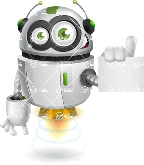 robot vector cartoon character - Sign 2