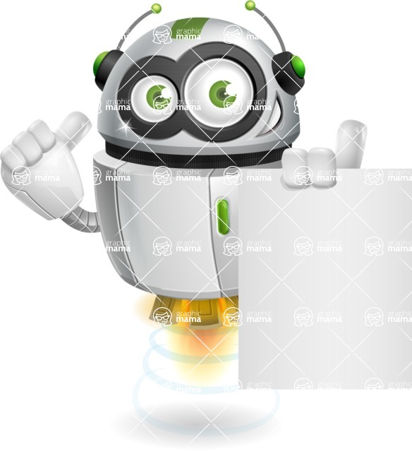 robot vector cartoon character - Sign 3