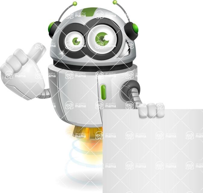 robot vector cartoon character - Sign 6