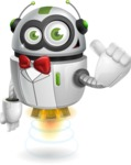 robot vector cartoon character - robot gentleman with a red bowtie