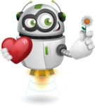 robot vector cartoon character - robot vector with heart and flower - fall in love character design