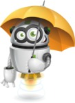 robot vector cartoon character - robot vector cartoon character design with umbrella