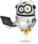robot vector cartoon character - Laptop 1