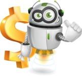 robot vector cartoon character - robot vector cartoon character design dollar money rich