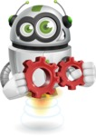 robot vector cartoon character - Gears