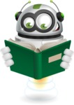robot vector cartoon character - robot vector cartoon character design with a book