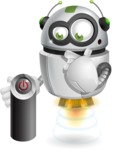 robot vector cartoon character design - Power Button