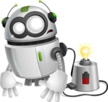 robot vector cartoon character - Charging