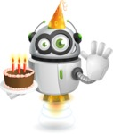 robot vector cartoon character - robot vector cartoon character design birthday party cake