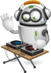 robot vector cartoon character - robot vector cartoon character design dj music
