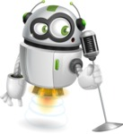 robot vector cartoon character - Singer