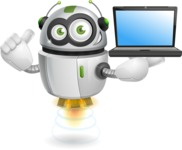 robot vector cartoon character - robot vector cartoon character design laptop presentation