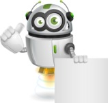 robot vector cartoon character - Sign 6