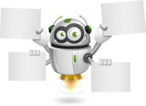 robot vector cartoon character - Sign 8