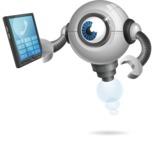 Futuristic Robot Cartoon Vector Character AKA GAR-Y - Phone