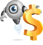 Futuristic Robot Cartoon Vector Character AKA GAR-Y - Dollar