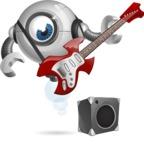 Futuristic Robot Cartoon Vector Character AKA GAR-Y - Musician