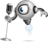 Futuristic Robot Cartoon Vector Character AKA GAR-Y - Singer