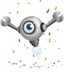 Futuristic Robot Cartoon Vector Character AKA GAR-Y - Celebrate