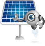 Futuristic Robot Cartoon Vector Character AKA GAR-Y - Solar Panel