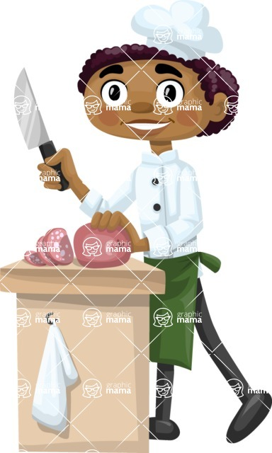 African American Chef Chopping