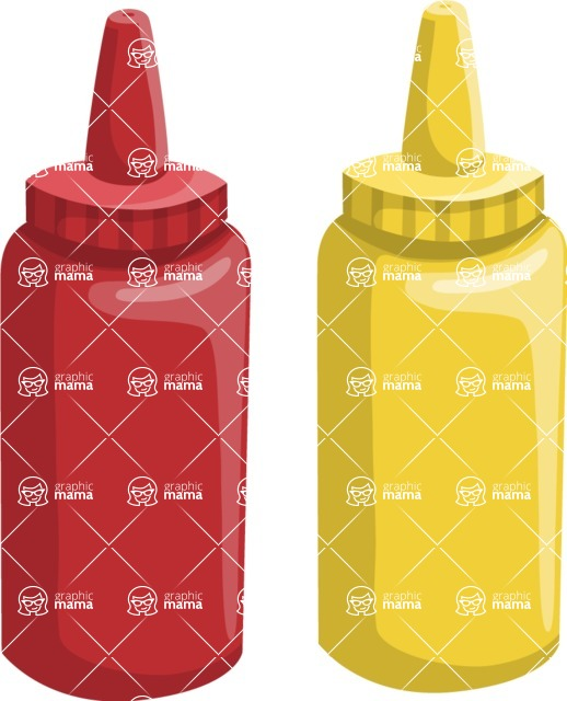 Food vector pack - menu, restaurant, meal, cook, chef, backgrounds, scenes, editable graphics, illustrations, png files for download available - Bottles of Ketchup and Mayonnaise