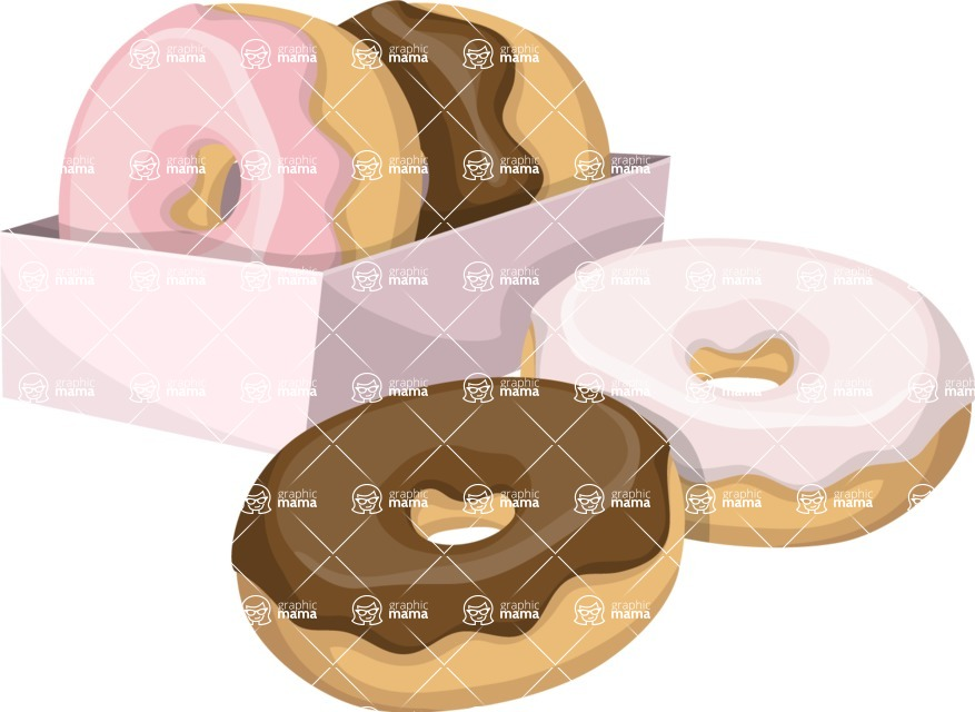 Food vector pack - menu, restaurant, meal, cook, chef, backgrounds, scenes, editable graphics, illustrations, png files for download available - Box of Donuts