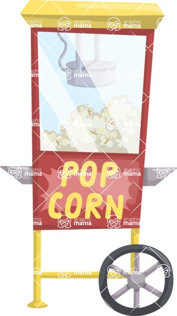 Food vector pack - menu, restaurant, meal, cook, chef, backgrounds, scenes, editable graphics, illustrations, png files for download available - Pop Corn Cart Stand