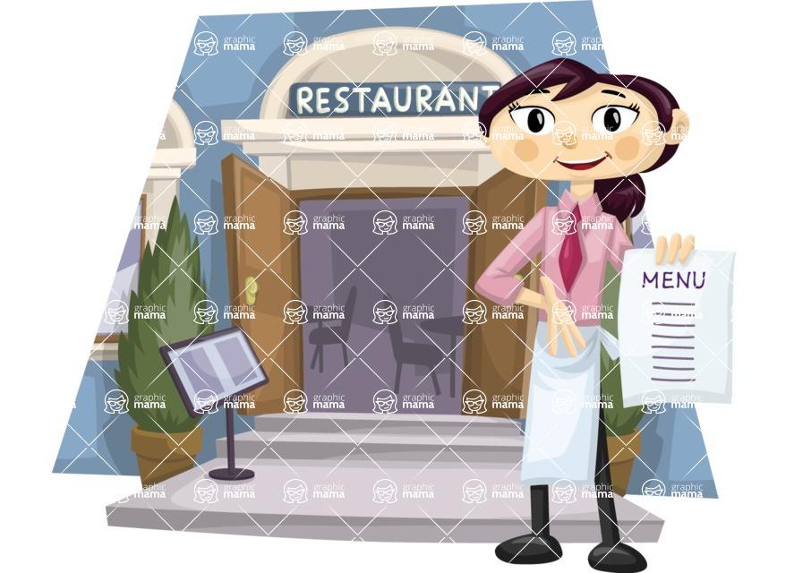 Waitress Outside Restaurant