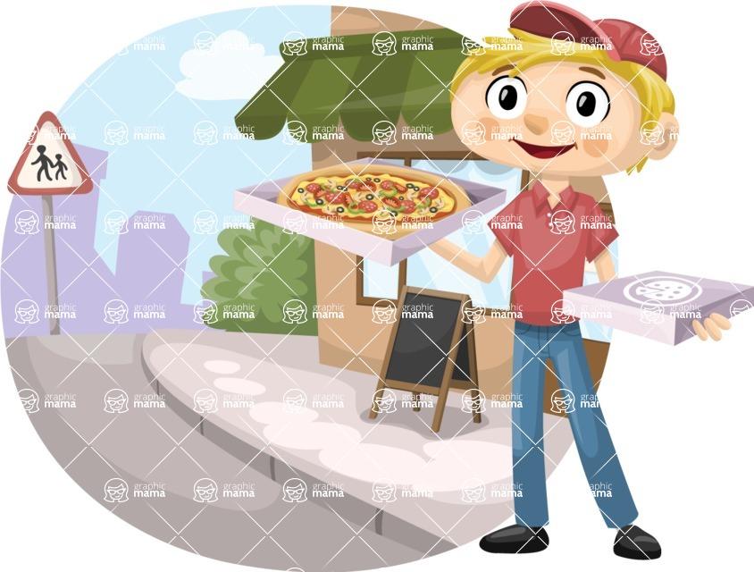 Pizza Boy in the Street