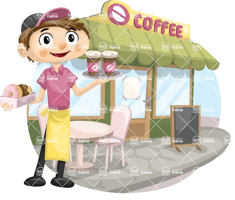 Waiter in Front of a Coffee Shop