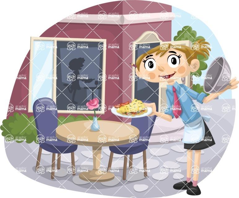 Waitress Serving Outdoors