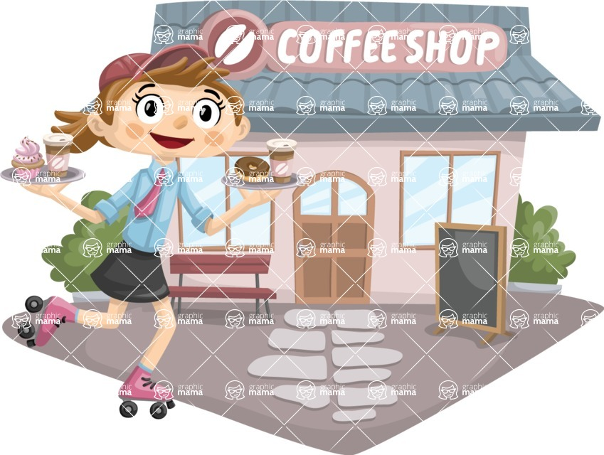 Food vector pack - menu, restaurant, meal, cook, chef, backgrounds, scenes, editable graphics, illustrations, png files for download available - Skating Waitress Outside Cafe
